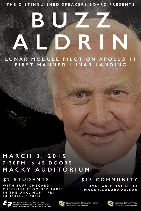 Buzz Aldrin Speaking at Distinguished Speakers Series Boulder Colorado march 3 2015