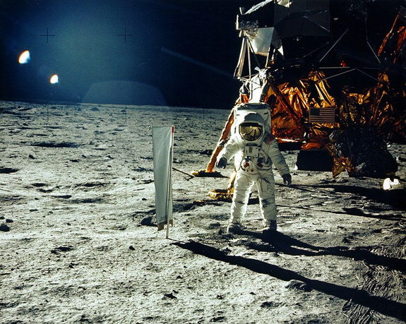 Apollo 11's Tranquility Base landing site on the moon — a future tourist haven needing protection? Credit: NASA